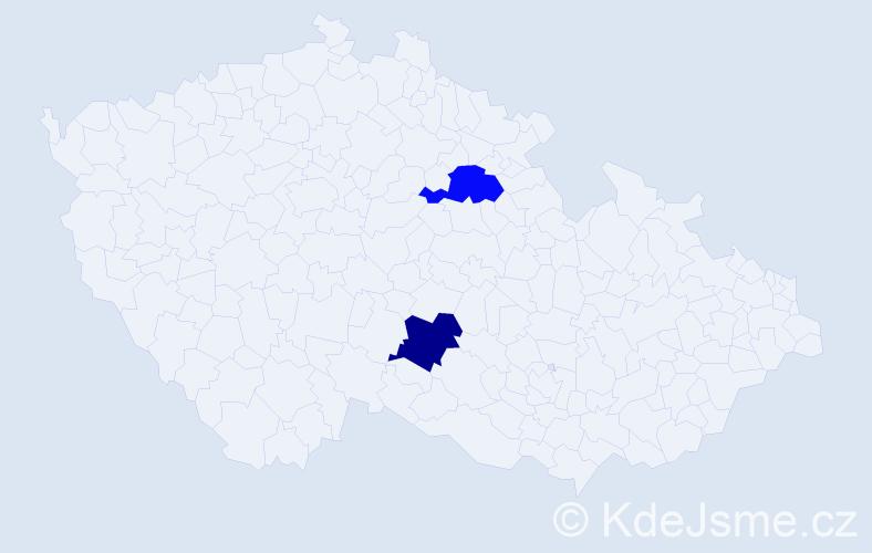 Jméno: 'Caritta', počet výskytů 2 v celé ČR