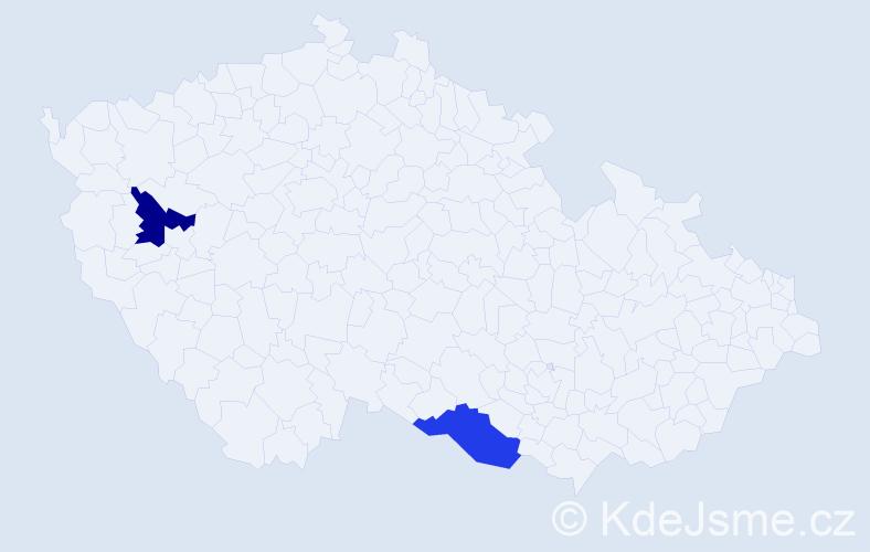 Jméno: 'Gabriela Petra', počet výskytů 2 v celé ČR