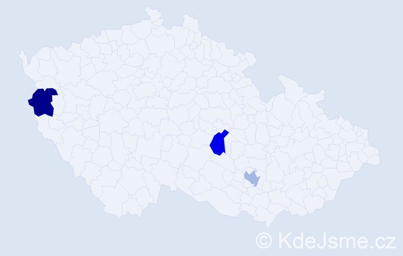 Jméno: 'Kesía', počet výskytů 3 v celé ČR