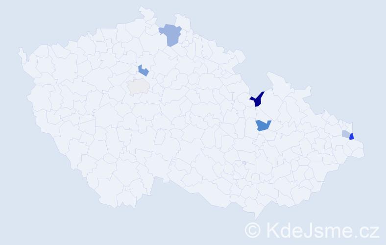 Jméno: 'Přibyslav', počet výskytů 9 v celé ČR