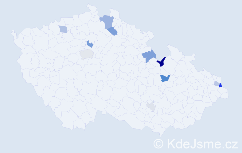 Jméno: 'Přibyslav', počet výskytů 14 v celé ČR