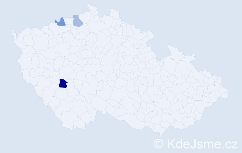Jméno: 'Guiseppe', počet výskytů 3 v celé ČR