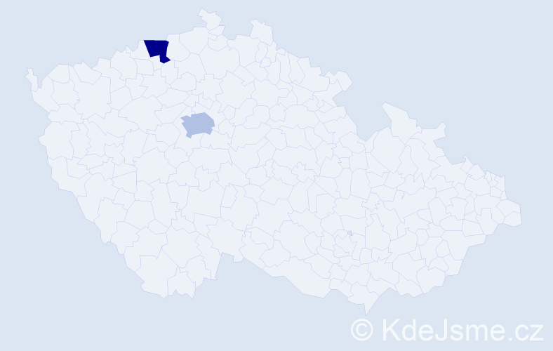 Jméno: 'Victorine', počet výskytů 2 v celé ČR