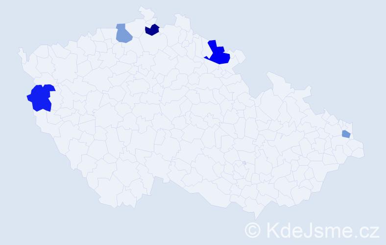 Jméno: 'Šándor', počet výskytů 6 v celé ČR