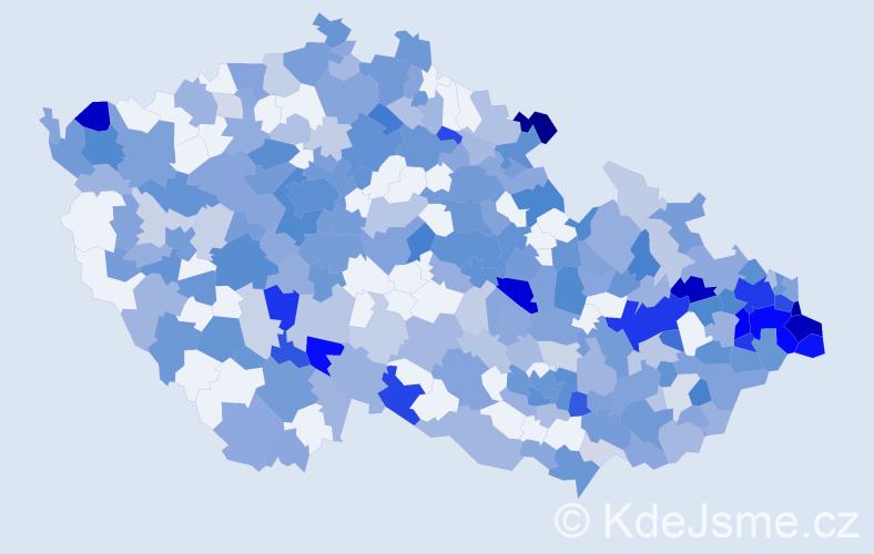 Jméno: 'Damián', počet výskytů 605 v celé ČR