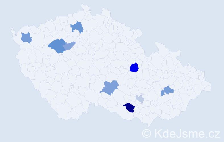 Jméno: 'Šimon Daniel', počet výskytů 9 v celé ČR