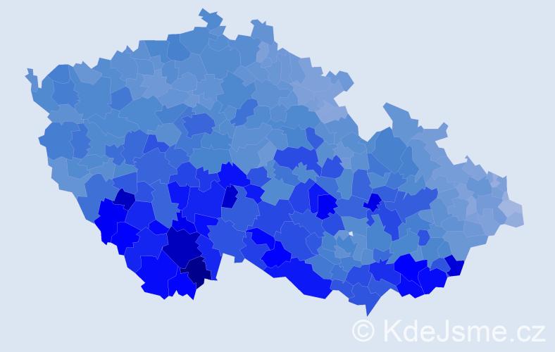 Jméno: 'František', počet výskytů 122910 v celé ČR