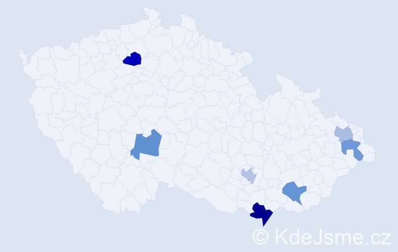 Jméno: 'Vratko', počet výskytů 8 v celé ČR