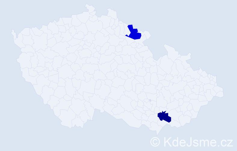 Jméno: 'Benedikt Tadeáš', počet výskytů 2 v celé ČR