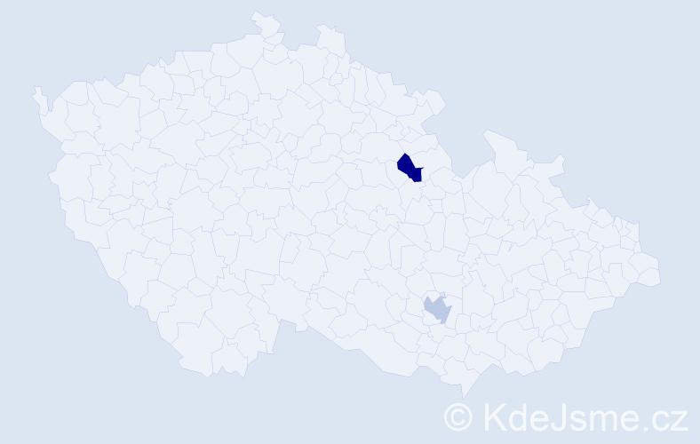 Jméno: 'Caroline Jane', počet výskytů 2 v celé ČR