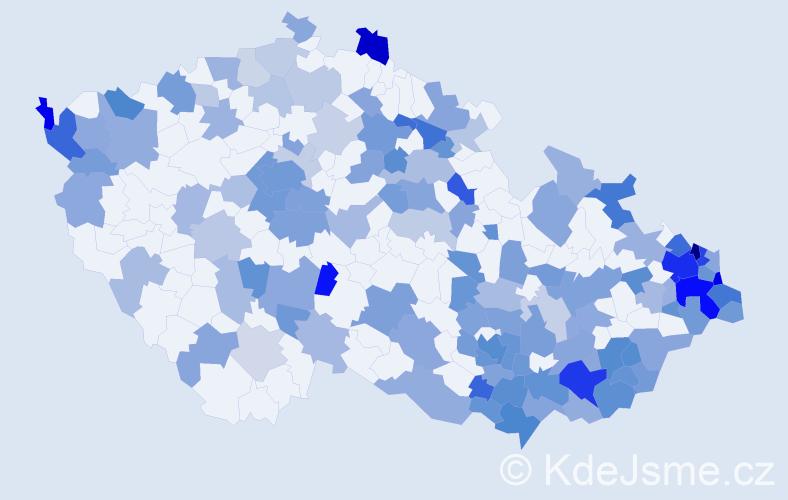 Jméno: 'Timea', počet výskytů 253 v celé ČR