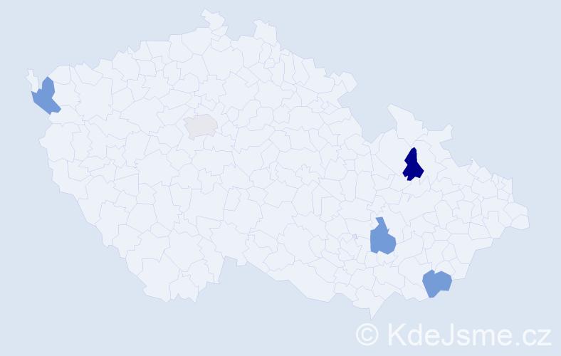 Jméno: 'Štěpán Karel', počet výskytů 5 v celé ČR
