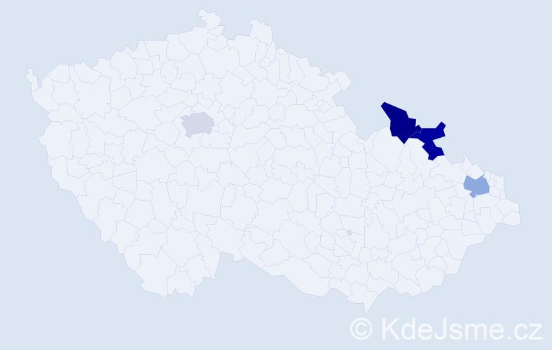Jméno: 'Vangeli', počet výskytů 4 v celé ČR