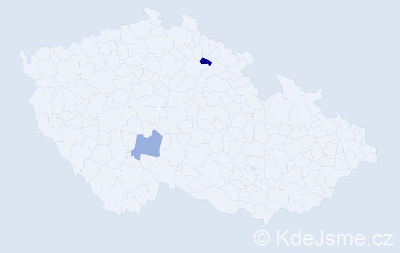 Jméno: 'Gabriela Julie', počet výskytů 2 v celé ČR