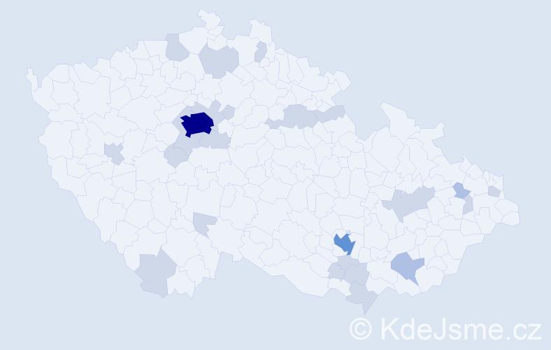 Jméno: 'Meda', počet výskytů 45 v celé ČR