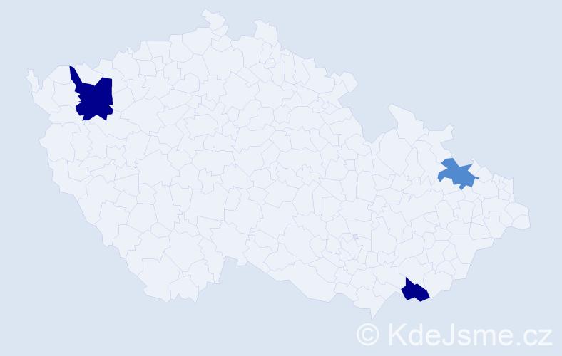 Jméno: 'Vanessa Zoe', počet výskytů 4 v celé ČR