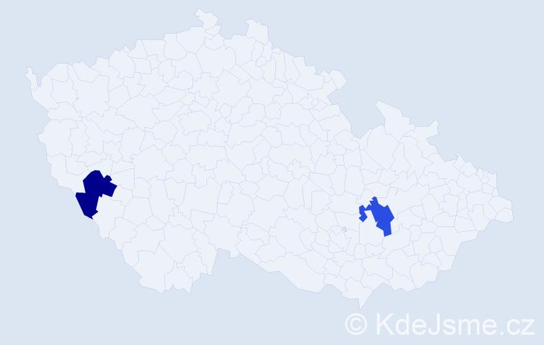 Jméno: 'Věra Kristýna', počet výskytů 2 v celé ČR