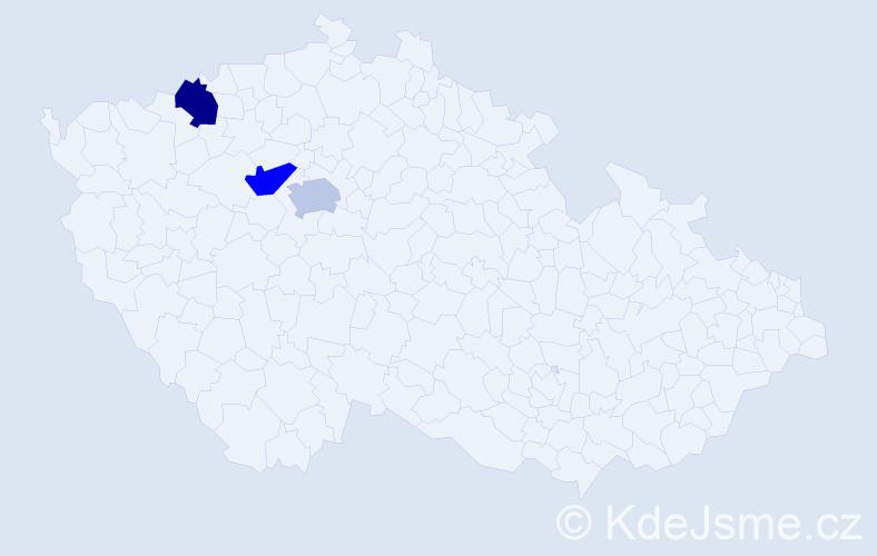 Jméno: 'Laura Emilie', počet výskytů 3 v celé ČR
