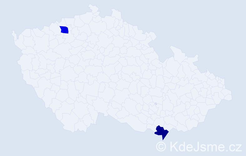 Jméno: 'Charlotte Sofie', počet výskytů 2 v celé ČR