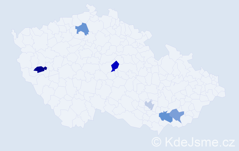 Jméno: 'Štěfan', počet výskytů 6 v celé ČR