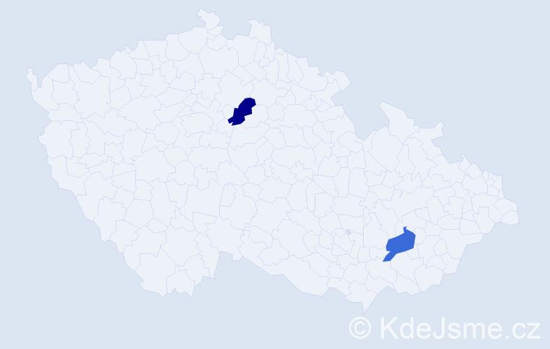 Jméno: 'Věra Leona', počet výskytů 2 v celé ČR