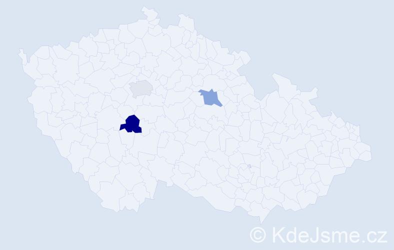 Jméno: 'Šánti', počet výskytů 3 v celé ČR