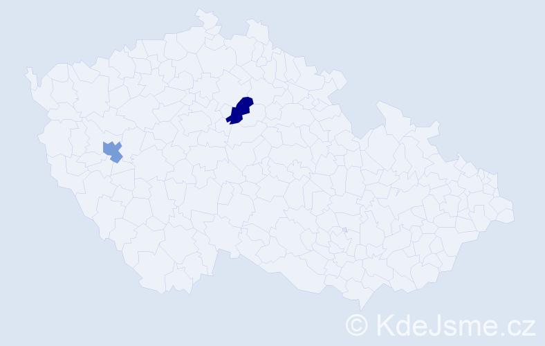 Jméno: 'Štěpán Samuel', počet výskytů 2 v celé ČR