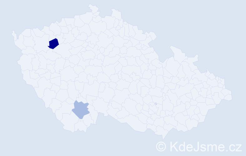 Jméno: 'Vilém František', počet výskytů 2 v celé ČR