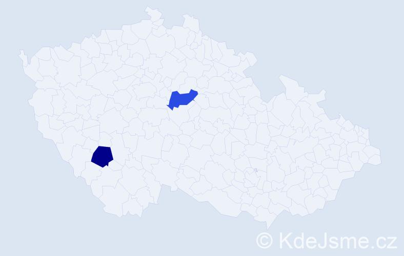 Jméno: 'Štěpán Kryštof', počet výskytů 2 v celé ČR