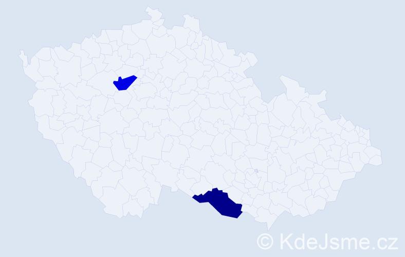 Jméno: 'Gia Han', počet výskytů 2 v celé ČR