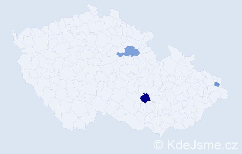 Jméno: 'Valeriana', počet výskytů 3 v celé ČR