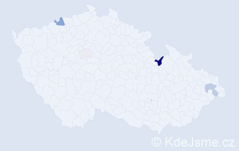 Jméno: 'Vendula Marie', počet výskytů 4 v celé ČR