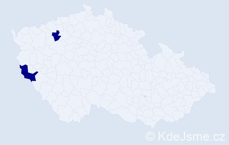 Jméno: 'Šeherezáda', počet výskytů 2 v celé ČR