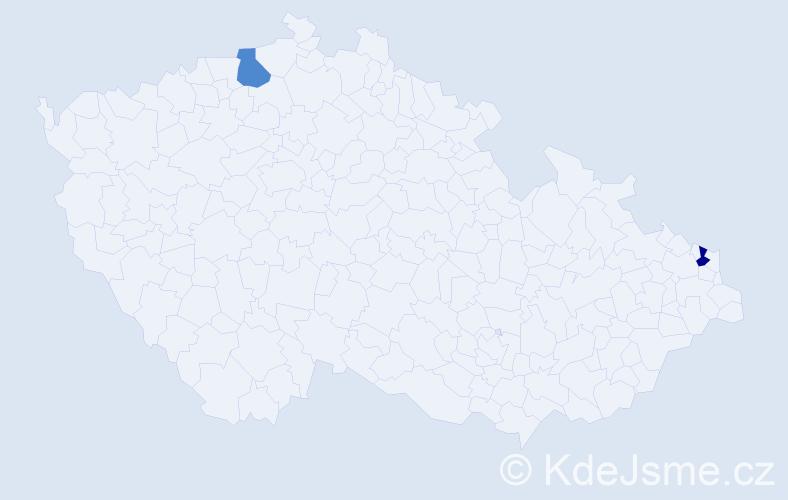 Jméno: 'Vaziľ', počet výskytů 2 v celé ČR