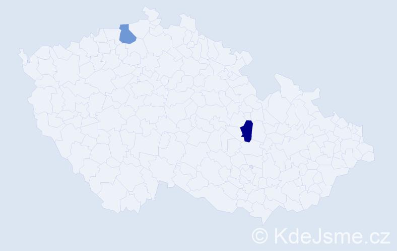 Jméno: 'Radka Marie', počet výskytů 2 v celé ČR