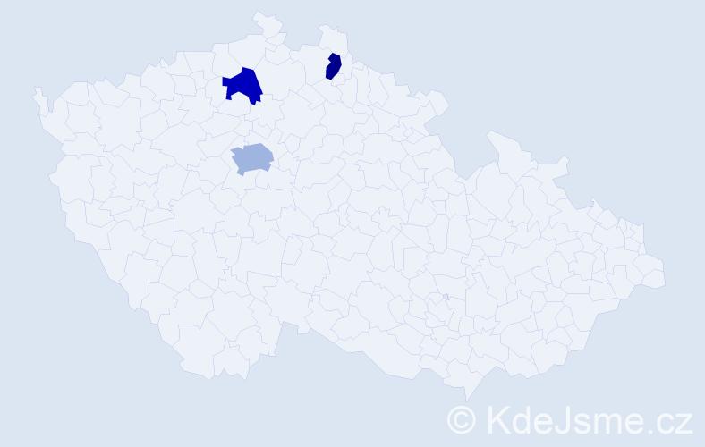 Jméno: 'Giang', počet výskytů 4 v celé ČR