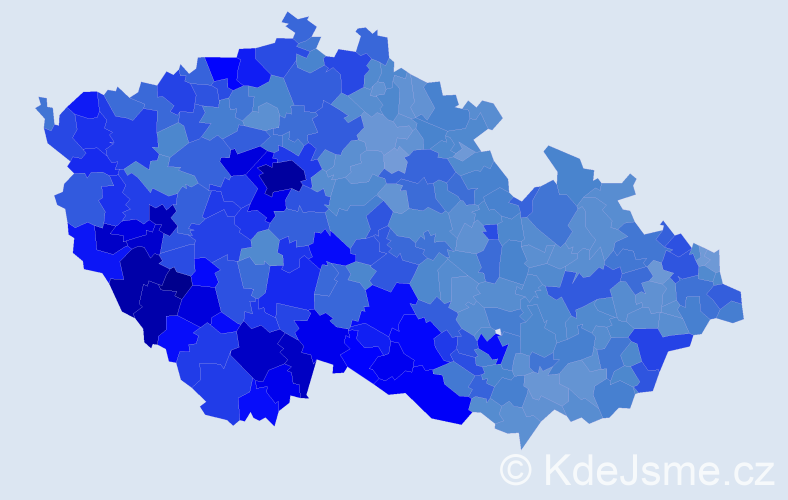 Jméno: 'Karel', počet výskytů 104072 v celé ČR