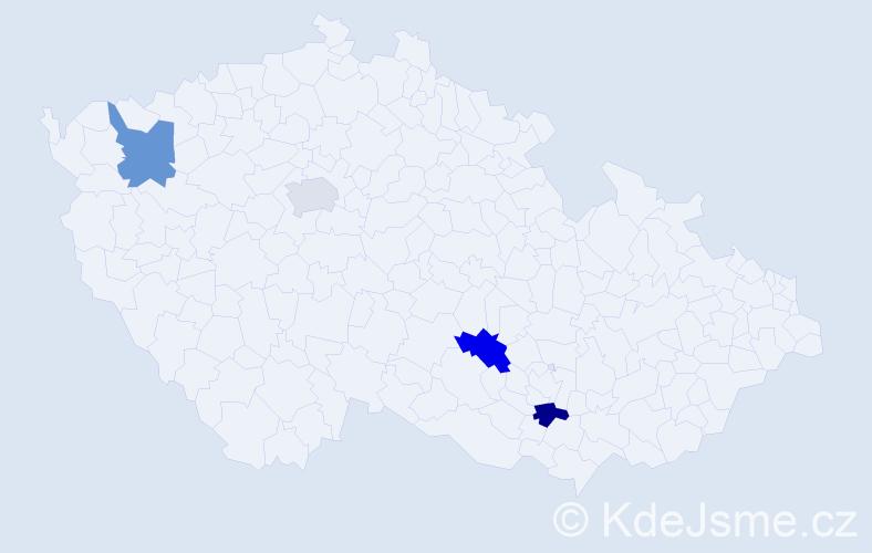 Jméno: 'Gediminas', počet výskytů 4 v celé ČR