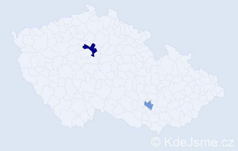 Jméno: 'Liliana Nina', počet výskytů 2 v celé ČR