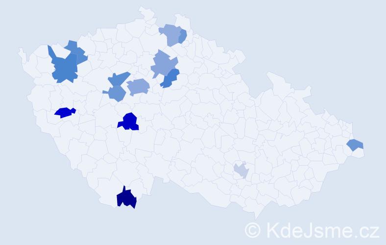 Jméno: 'Vadym', počet výskytů 22 v celé ČR