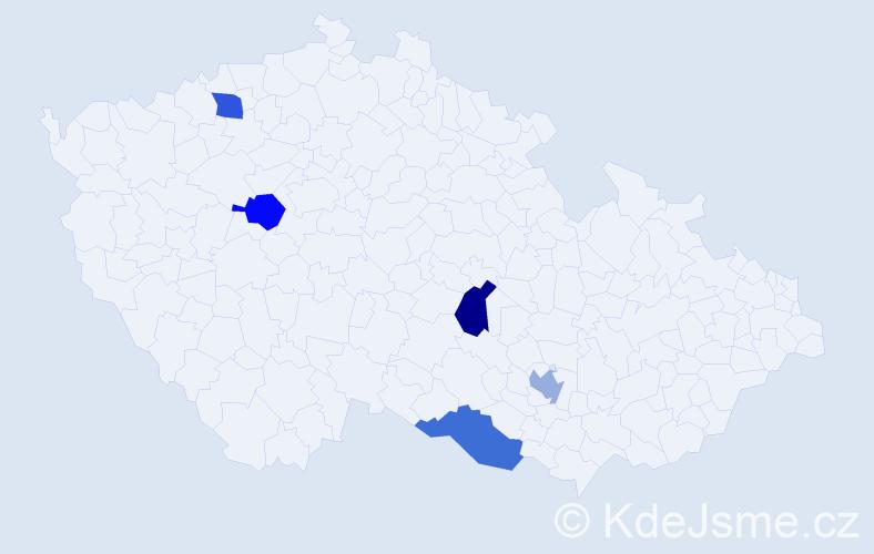 Jméno: 'Leontyna', počet výskytů 5 v celé ČR