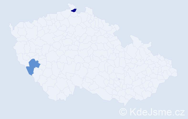 Jméno: 'Vanesa Rose', počet výskytů 2 v celé ČR