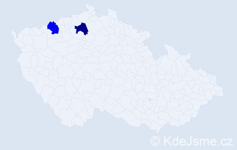 Jméno: 'Vácslav', počet výskytů 2 v celé ČR