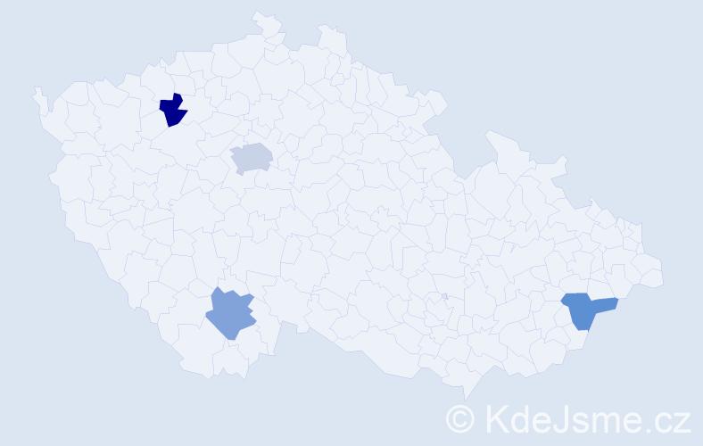 Jméno: 'Lenka Magdalena', počet výskytů 5 v celé ČR
