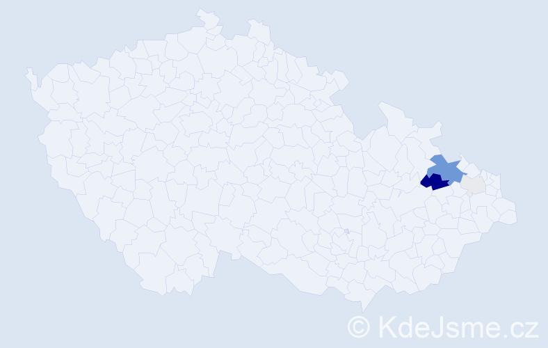 Příjmení: 'Dzimbaník', počet výskytů 13 v celé ČR