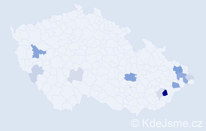 Příjmení: 'Gužík', počet výskytů 33 v celé ČR
