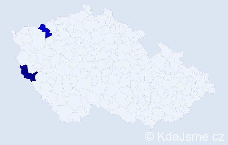 Příjmení: 'Jelová', počet výskytů 2 v celé ČR