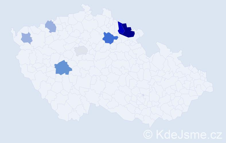 Příjmení: 'Hainiš', počet výskytů 15 v celé ČR