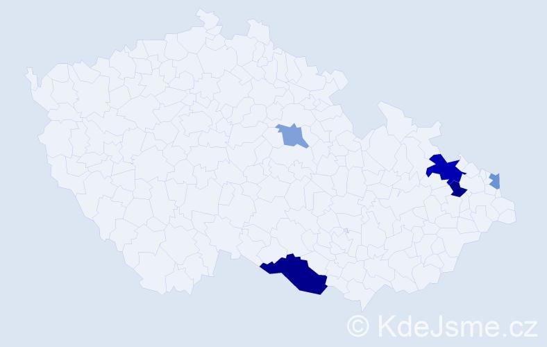 Příjmení: 'Jenei', počet výskytů 9 v celé ČR
