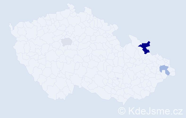 Příjmení: 'Bugris', počet výskytů 6 v celé ČR
